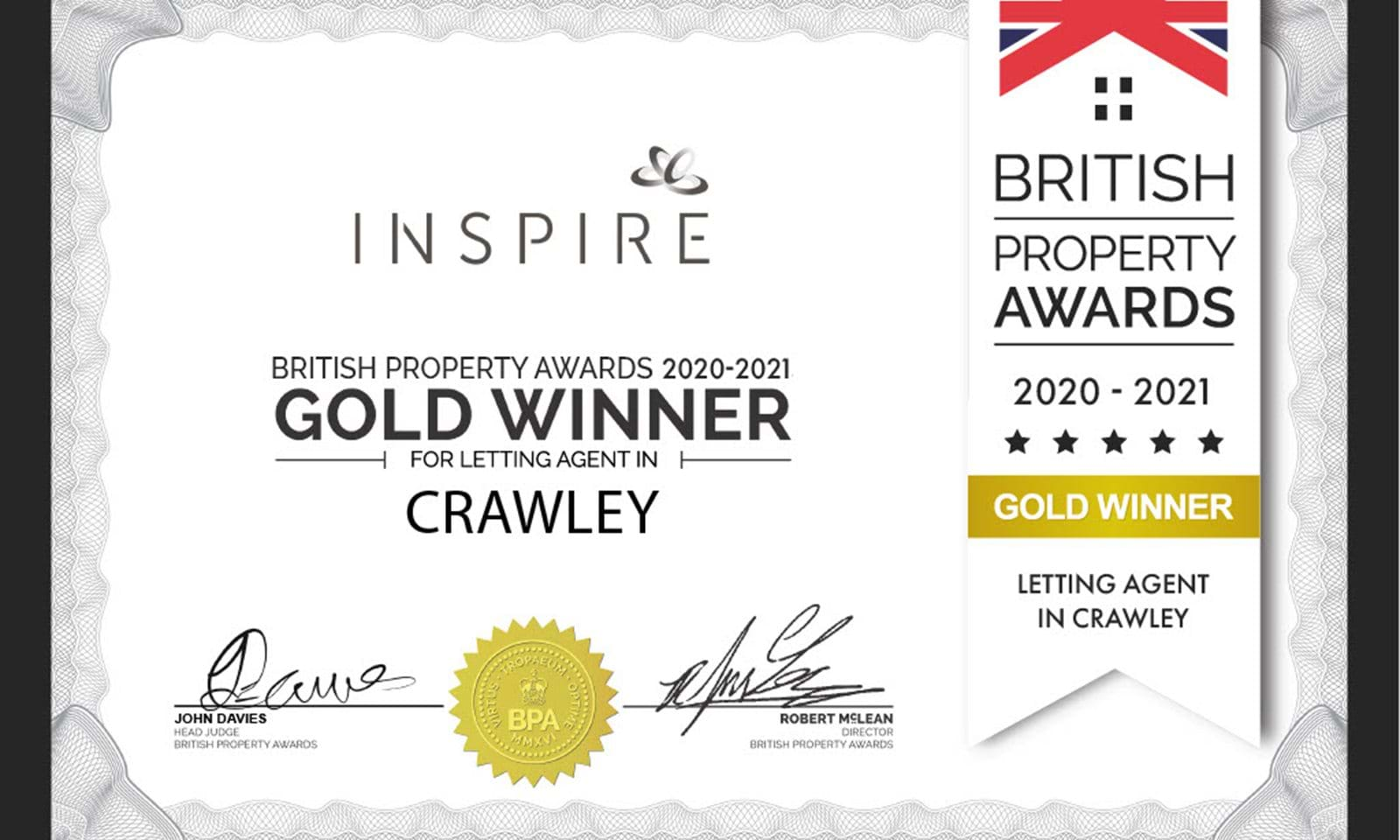 British Property Award Certificate